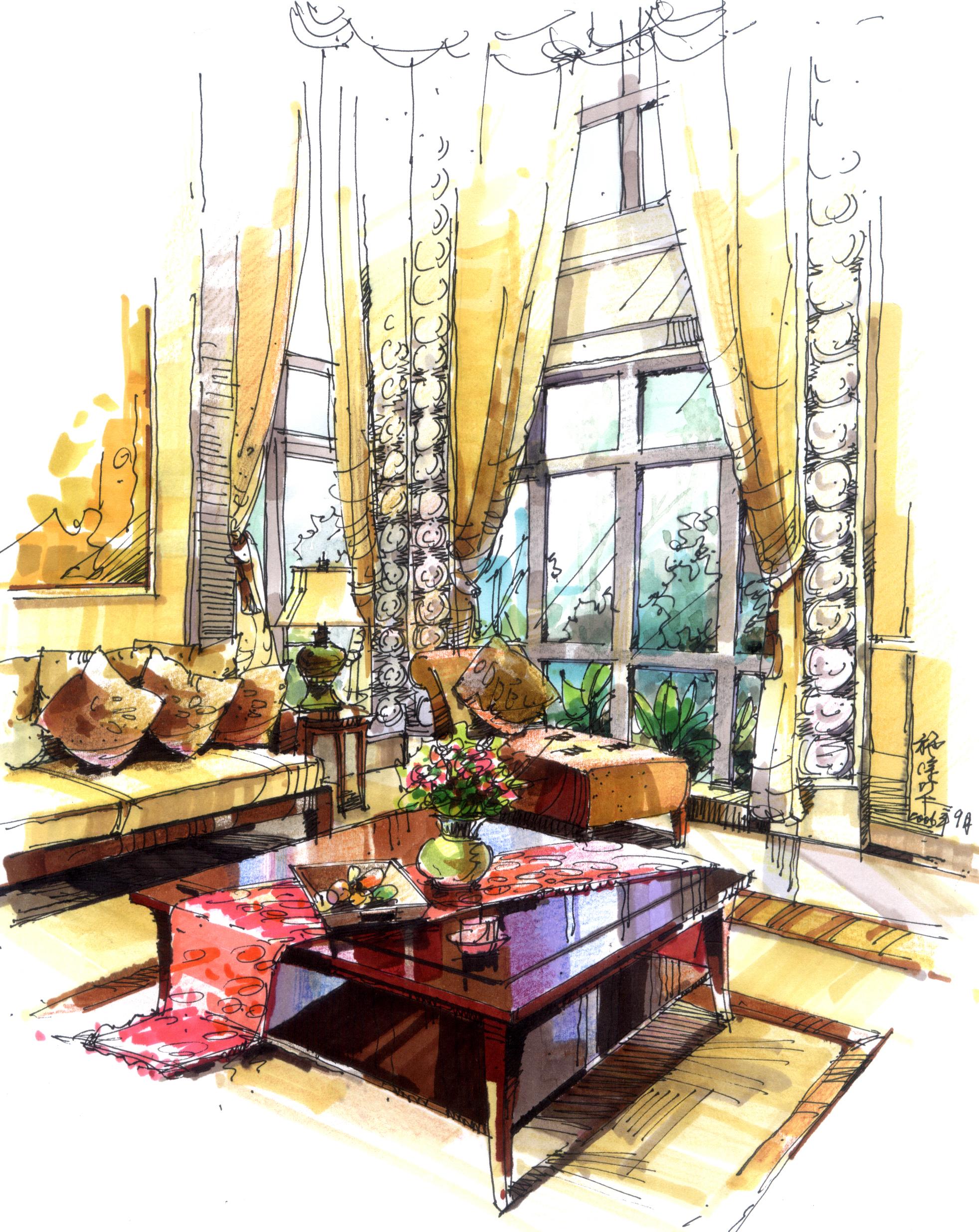 别墅客厅设计手稿(钢笔,马克笔)